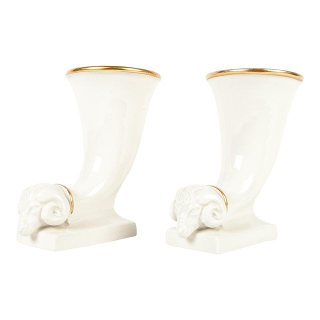 Vintage French Decorative Ram Horn Vases - a Pair For Sale