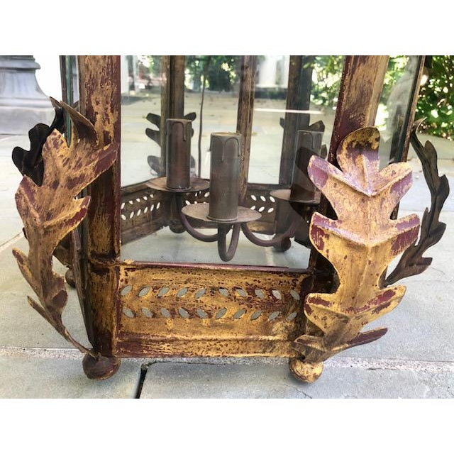 Two Worlds Arts Custom Large Scale Gilt Tole Chandelier/Hall Lantern For Sale - Image 9 of 13