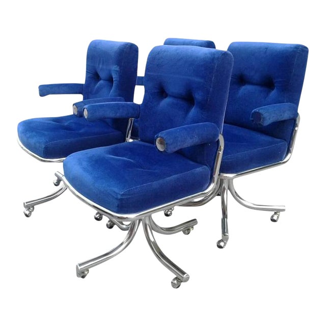 Vintage Hollywood Regency Chrome Swivel Arm Chairs - 3 Available For Sale
