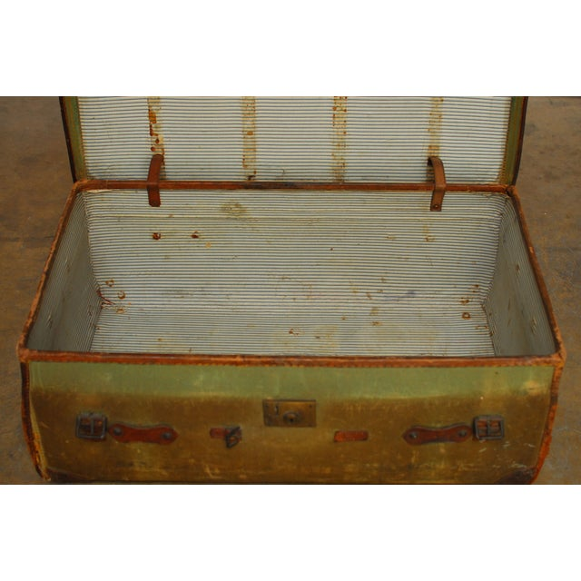 Antique Campaign Steamer Travel Trunk Luggage For Sale - Image 4 of 6