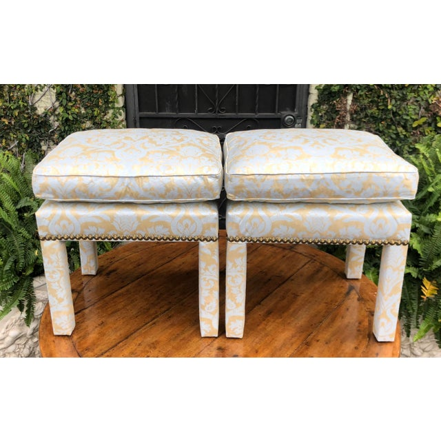Fortuny Pair of Fortuny Fully Upholstered Pillow Top Benches For Sale - Image 4 of 5