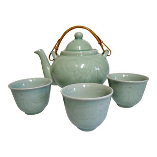 Celadon Teapot and Teacups - Set of 4 For Sale