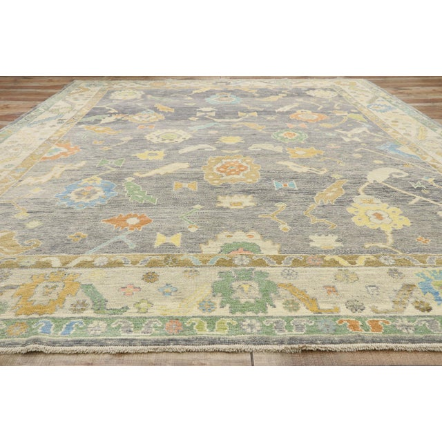 Textile Contemporary Turkish Oushak Rug - 09'09 X 13'07 For Sale - Image 7 of 10