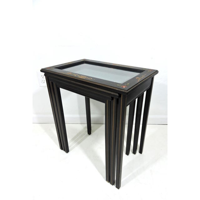 Vintage Black Japanned 'Pagoda & Landscape' Asian Glass Top Nesting / Side Tables - Set of 3 For Sale In Tampa - Image 6 of 9