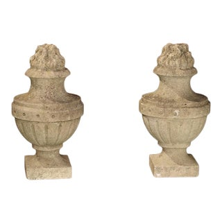 "Pair of Carved Antique Limestone ""Pots a Feu"" From France, 19th Century For Sale"