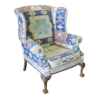 1990s Vintage Custom Southwest Upholstery Wingback Chair For Sale