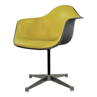 Eames Pac Yellow Padded Swivel Armchair W/Gray Fiberglass Shell & Aluminum Base For Sale