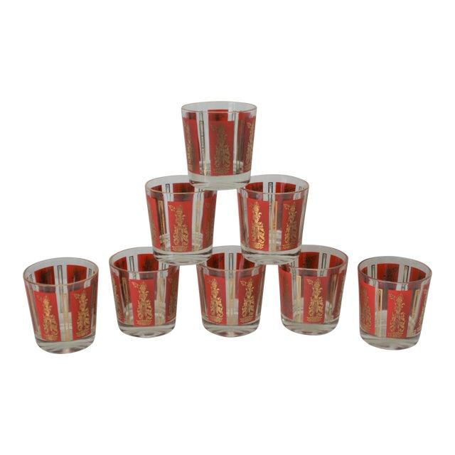 Mid-Century Red & Gold Mandalay Thai Goddess Rock Glasses - Set of 8 For Sale