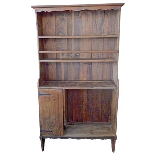 French 19th Century Open Faced Cupboard With Four Shelves and One Closed Compartment. For Sale