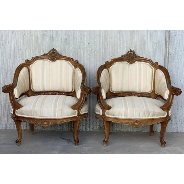 French Pair of Italian Rococó Louis XV Fauteuils or Slipper Chairs For Sale - Image 3 of 12