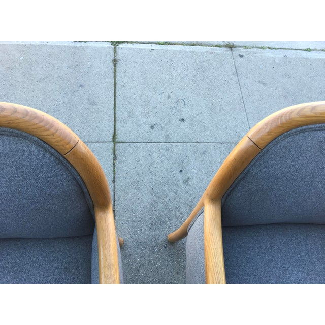 Mid-Century Modern 1980s Vintage Sculptural Oak Frame Arm Chairs - a Pair For Sale - Image 3 of 11