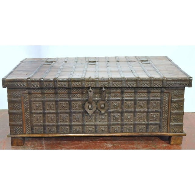 English Carved Chestnut Trunk Coffee Table - Image 9 of 9