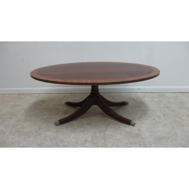 Ethan Allen Flame 18th Mahogany Oval Coffee Table Newport For Sale - Image 13 of 13