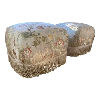 1970s Marge Carson Style Brass Base Tassled Poufs - a Pair For Sale