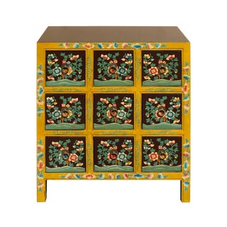 Chinese Oriental Distressed Yellow Brown Flower 9 Drawers End Table Nightstand For Sale