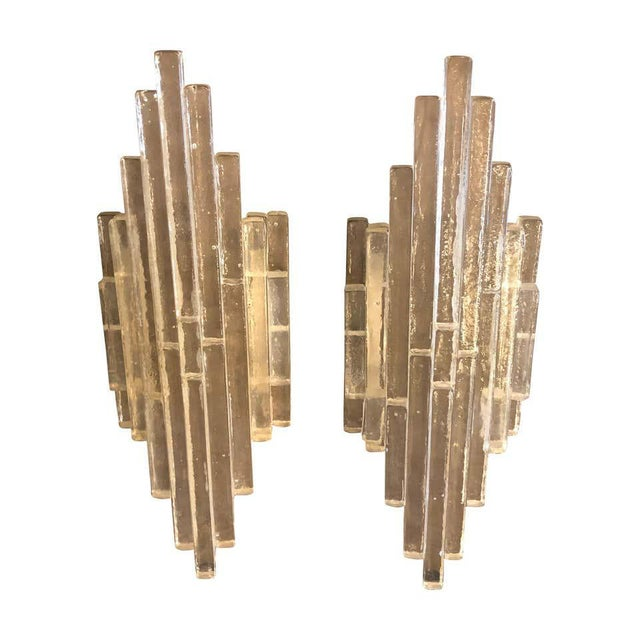 1960s Italian Mid-Century Modern Albano Poli for Poliarte Murano Glass Wall Sconces - a Pair For Sale