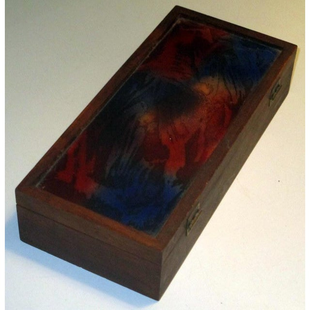 Abstract 1960s Mid-Century Modern Rosewood Box With Abstract Enamel Top For Sale - Image 3 of 7