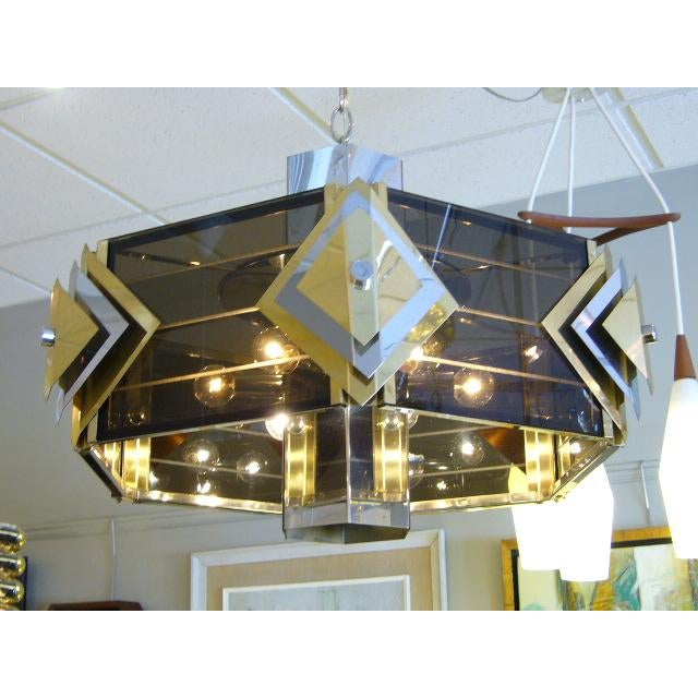 Amazing Modernist Cityscape Style Mixed Metal & Lucite Chandelier For Sale - Image 10 of 10