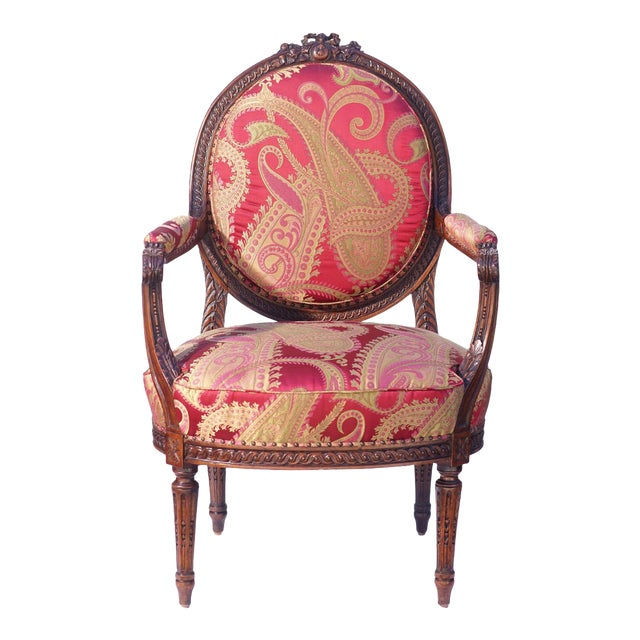 19th C. French Walnut Armchair For Sale