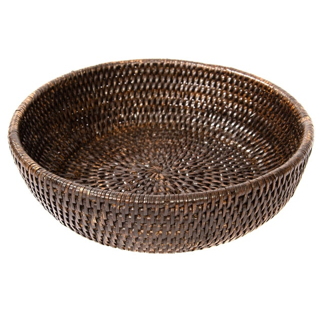 Boho Chic Artifacts Rattan Bowl For Sale - Image 3 of 4