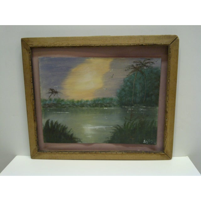 "Original Painting on Paper - ""Sunset"" by Sally, 1940 - Image 3 of 6"