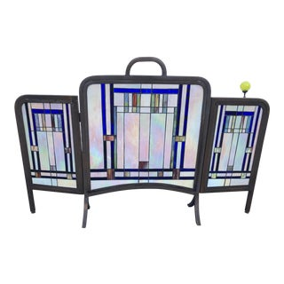 Late 20th Century Stained Glass Folding Fireplace Place Screen For Sale