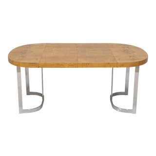 Milo Baughman Burl and Chrome Extension Dining Table or Desk For Sale
