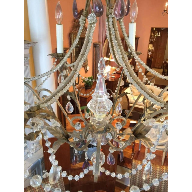 19th Century Italian Gilt Iron, Tole and Crystal Chandelier For Sale In New Orleans - Image 6 of 8