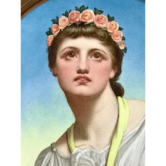 "Pair of Antique English Grand Tour Portrait Plaques ""Hera & Rhodus"" For Sale In Philadelphia - Image 6 of 13"