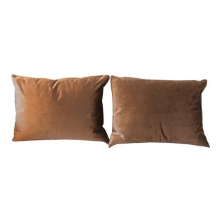 Gray Velvet Pillows - a Pair For Sale