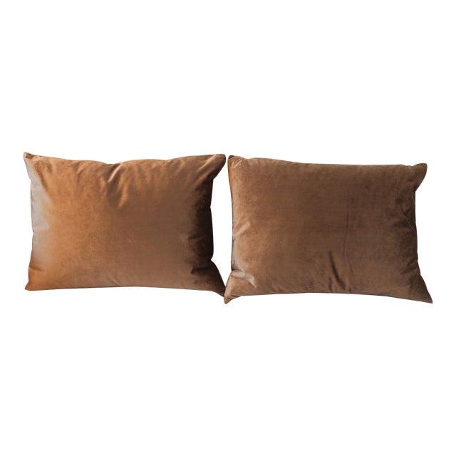 Gray Velvet Pillows - a Pair For Sale