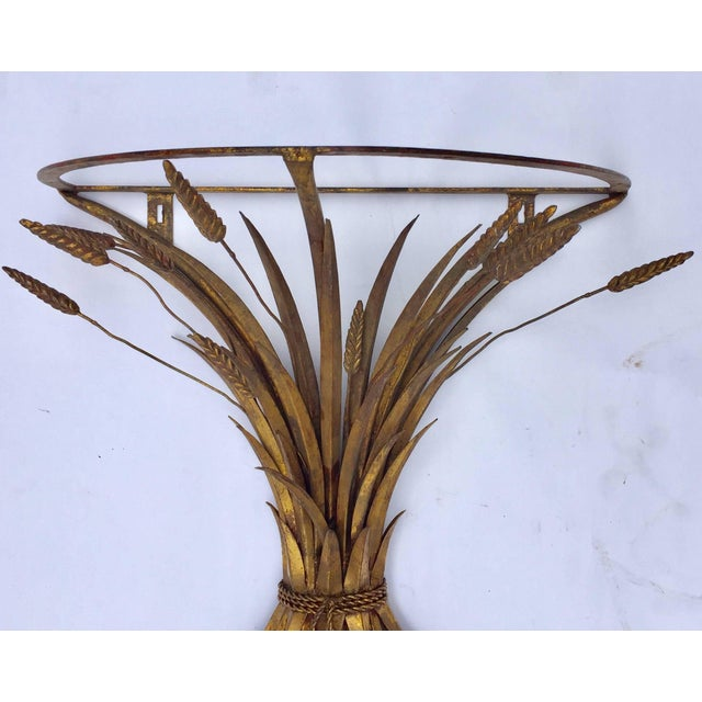 Vintage mid-century gilded metal sheaf of wheat small console table base. In the style of Coco Chanel Parisian apartment....