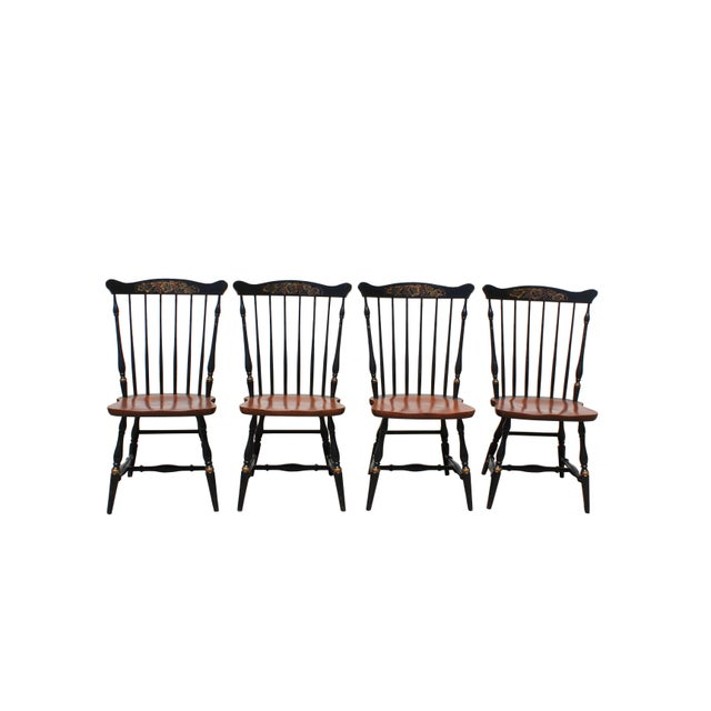 Americana Antique Hitchcock Primitive Dining Chairs - Set of 6 For Sale - Image 3 of 11