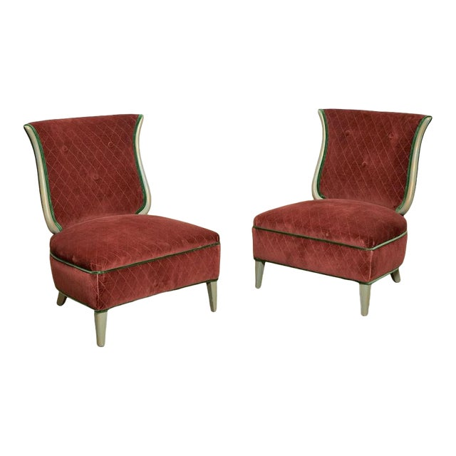 Art Deco Grosfeld House Hollywood Regency Red Velvet Slipper Chairs For Sale
