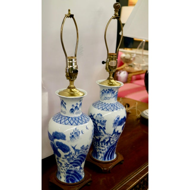 Asian Blue & White Asian Lamps - A Pair For Sale - Image 3 of 8