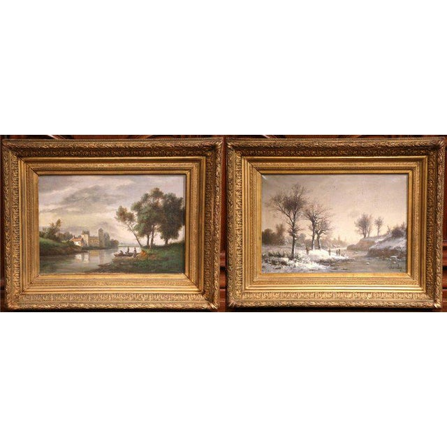 Gilt Framed French Pastoral Paintings - A Pair - Image 5 of 10