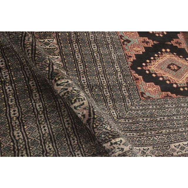 """1980s Bokara Arya Kum Black & Brown Wool Rug - 10'3"""" x 13'11"""" For Sale - Image 5 of 7"""