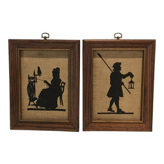 Vintage Framed Silhouettes - A Pair