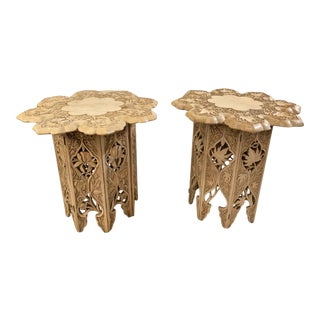 Carved Indian Late Raj Period Folding Tabouret Tables - A Pair For Sale