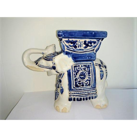 Clay Vintage 1970's Elephant Planter Blue and White For Sale - Image 7 of 7