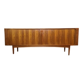 1960s Danish Modern Bernhard Pedersen & Sons Tambour Door Teak Credenza For Sale
