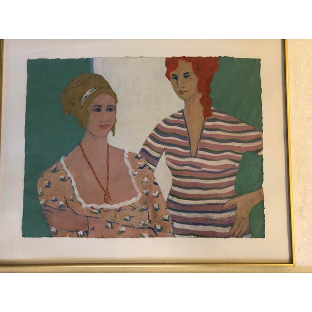 """Red """"Sisters"""" 1989 Marilyn Spencer (New Orleans, 1939-2017) Acrylic on Paper For Sale - Image 8 of 8"""
