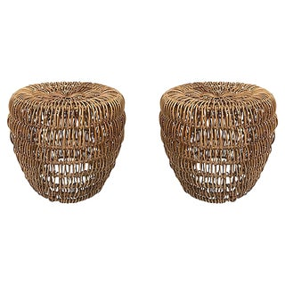 Woven Rattan Stools, Pair For Sale