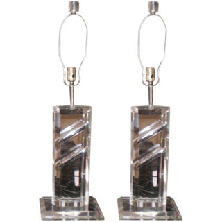 1960s Mid Century Modern Lucite Table Lamps - a Pair