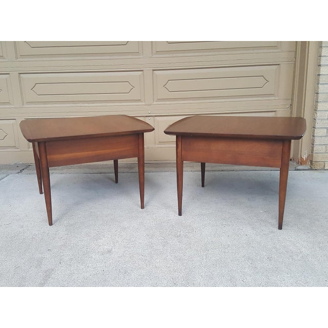 Bassett Mid-Century Modern Artisan End Tables - A Pair - Image 4 of 10