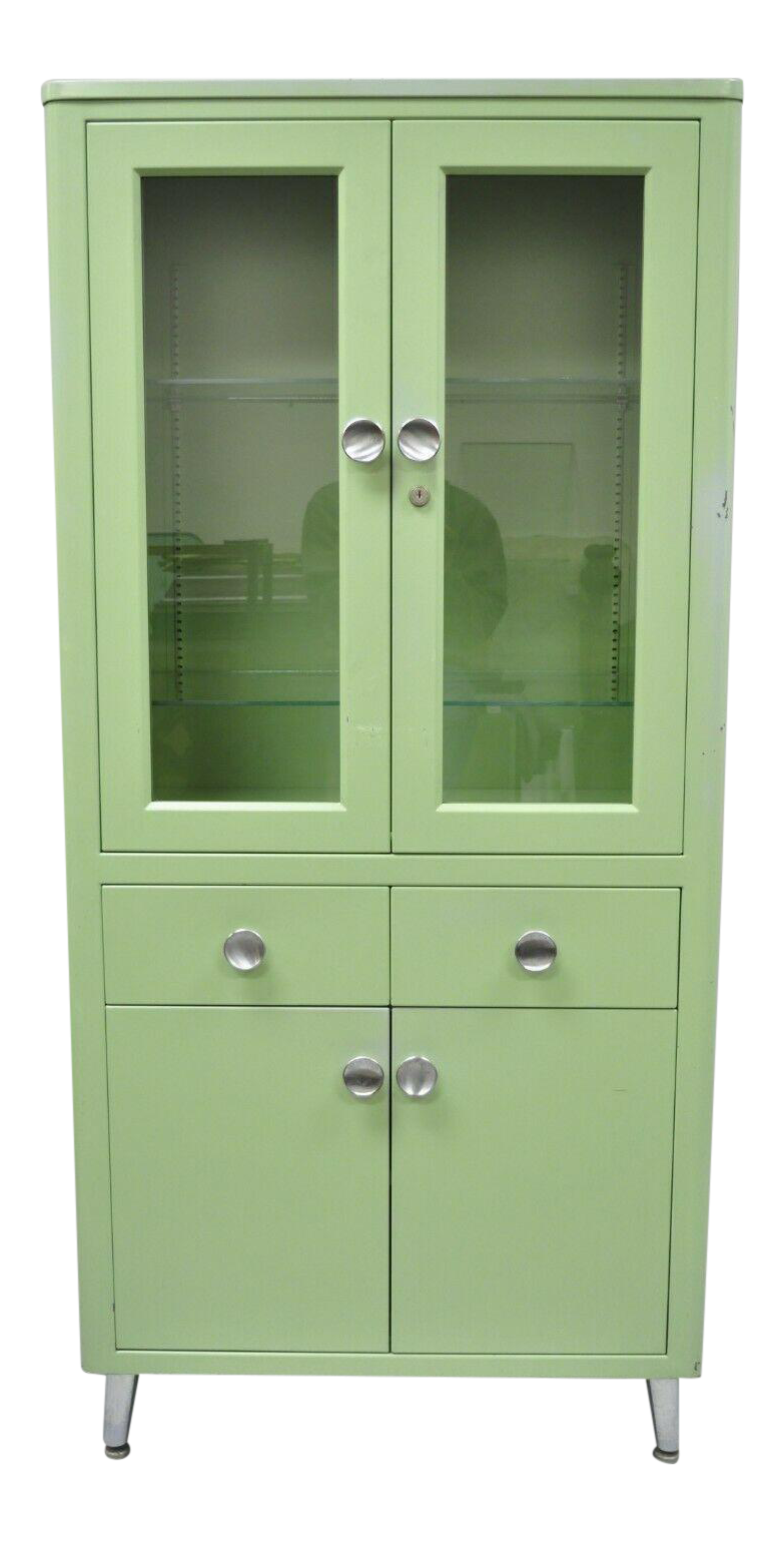 Antique Art Deco Mint Green Steel Metal Dental Cabinet Display By United  Metal For Sale