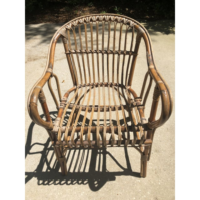 Franco Albini Style Bamboo Arm Chair For Sale - Image 11 of 12