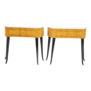 1950's Italian Reeded and Ebonized Side Tables-a Pair For Sale