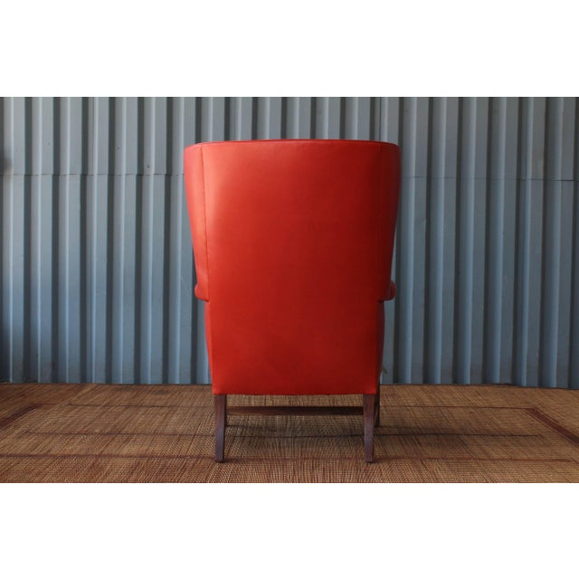 1940s Orange Leather Wingback Armchair For Sale - Image 4 of 11