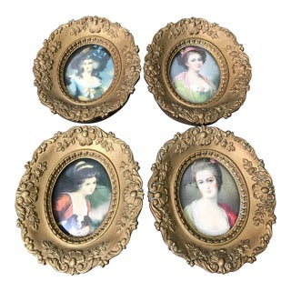 Mid 20th Century Victorian Cameo Creation Regency Style European Gilt Framed Portraits - Set of 4 For Sale
